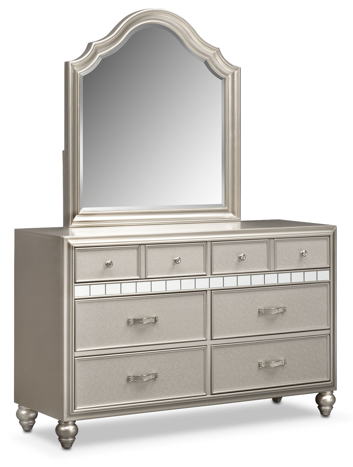 Bedroom Furniture - Serena Dresser and Mirror - Platinum