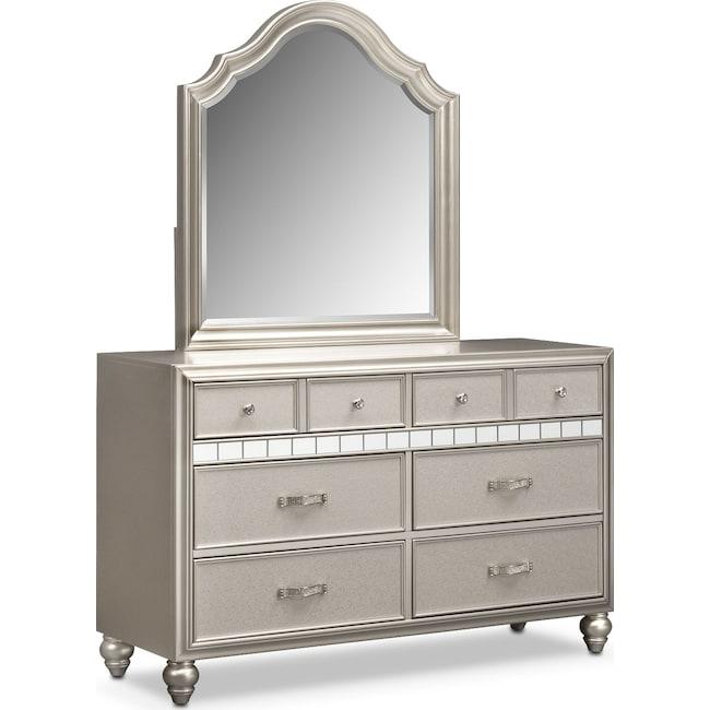 Kids Furniture - Serena Dresser and Mirror - Platinum