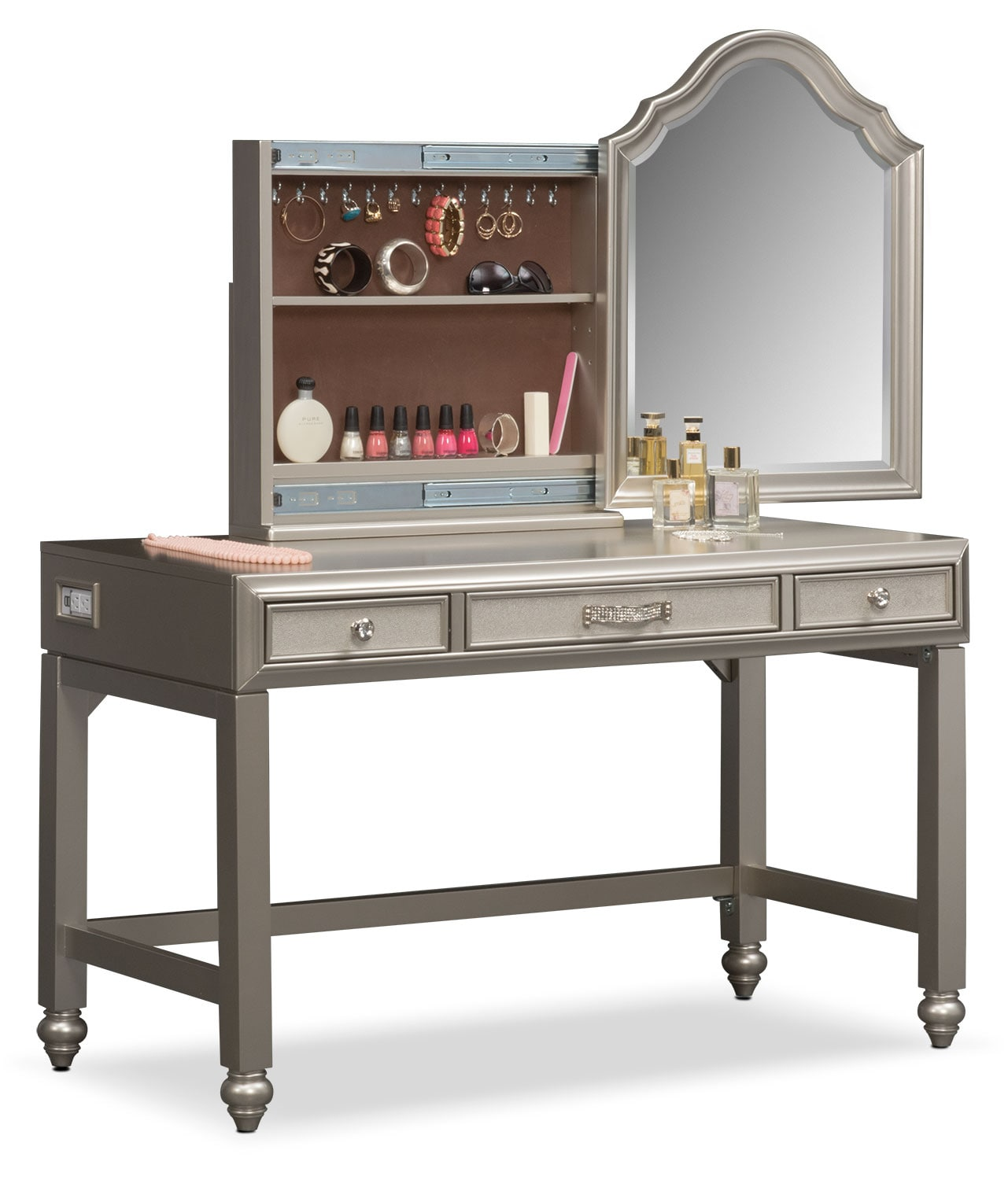 Serena Vanity And Mirror   Platinum
