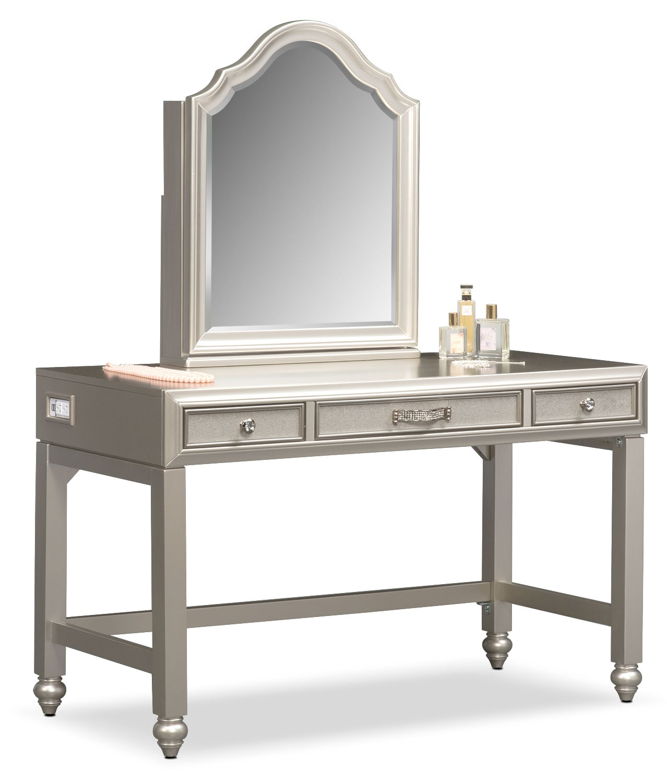 Bedroom Furniture - Serena Vanity and Mirror - Platinum
