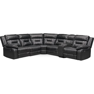 Remi 6-Piece Power Reclining Sectional with 3 Reclining Seats - Black