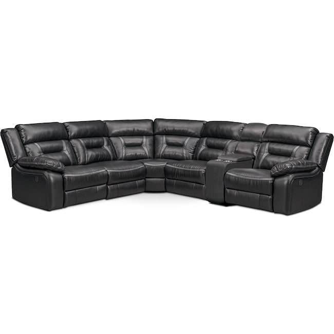 Living Room Furniture - Remi 6-Piece Power Reclining Sectional with 2 Reclining Seats - Black