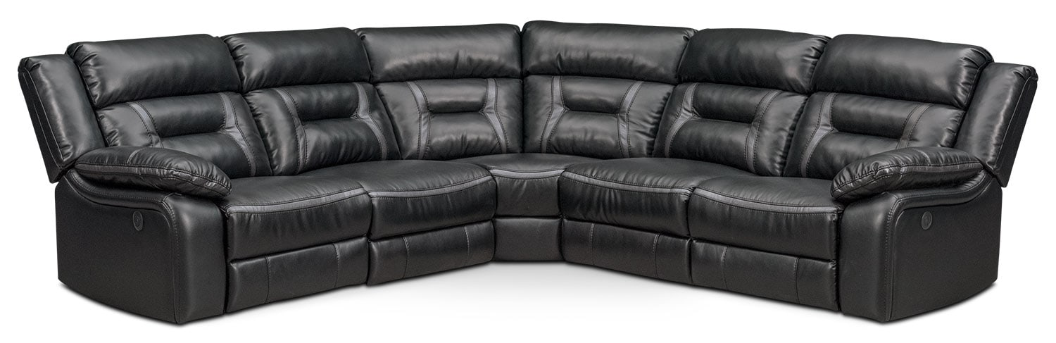 Remi 5-Piece Power Reclining Sectional with 3 Reclining Seats - Black