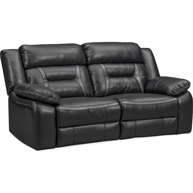 Living Room Furniture - Remi 2-Piece Power Reclining Sofa - Black