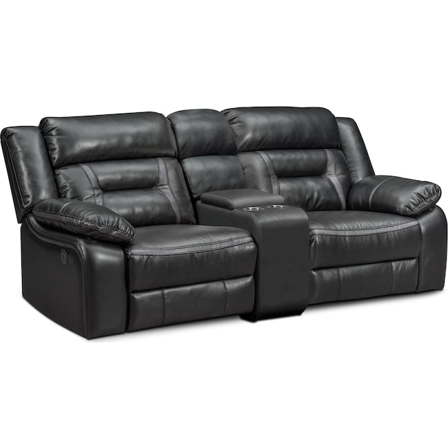 Living Room Furniture - Remi 3-Piece Power Reclining Sofa - Black