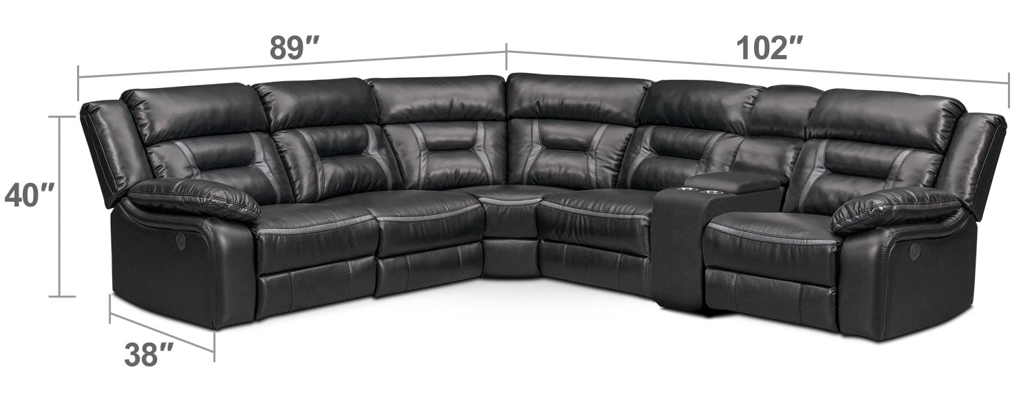 Living Room Furniture - Remi 6-Piece Power Reclining Sectional with 3 Reclining Seats - Black