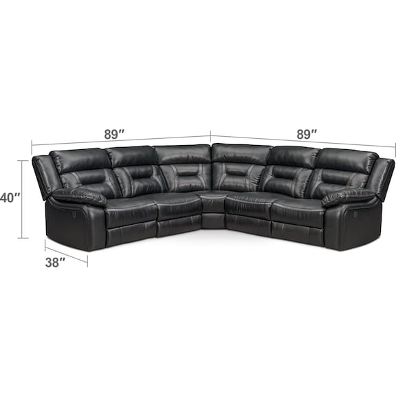 Living Room Furniture - Remi 5-Piece Power Reclining Sectional with 3 Reclining Seats - Black