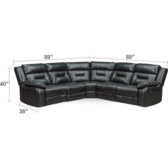 Living Room Furniture - Remi 5-Piece Power Reclining Sectional with 2 Reclining Seats - Black