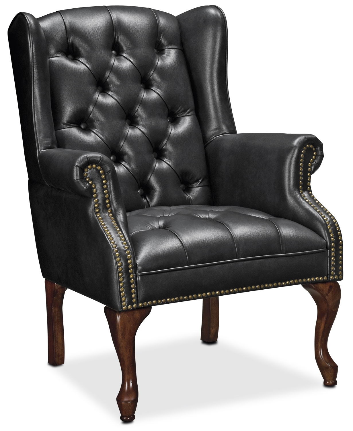 Living Room Furniture - Wyndham Tufted Button Accent Chair - Black