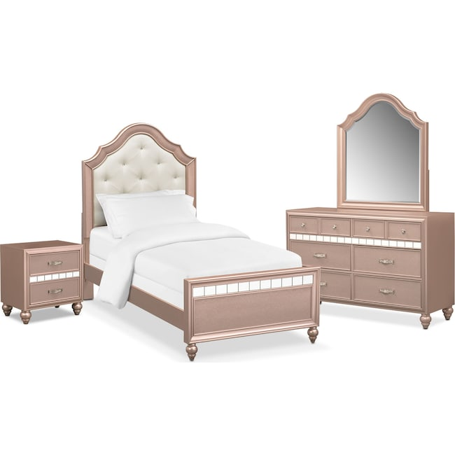 Bedroom Furniture - Serena Youth 6-Piece Twin Bedroom Set - Rose Quartz