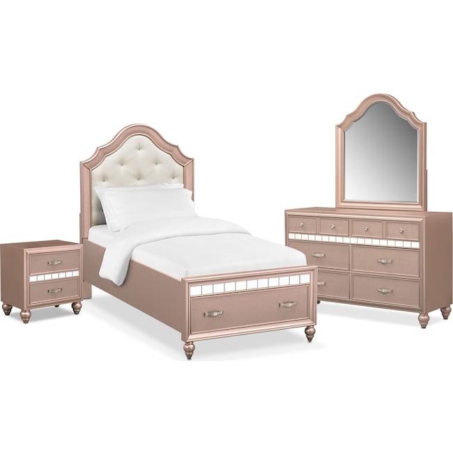 Bedroom Furniture - Serena Youth 6-Piece Twin Storage Bedroom Set - Rose Quartz