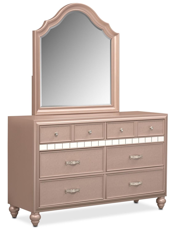 Bedroom Furniture - Serena Dresser and Mirror - Rose Quartz