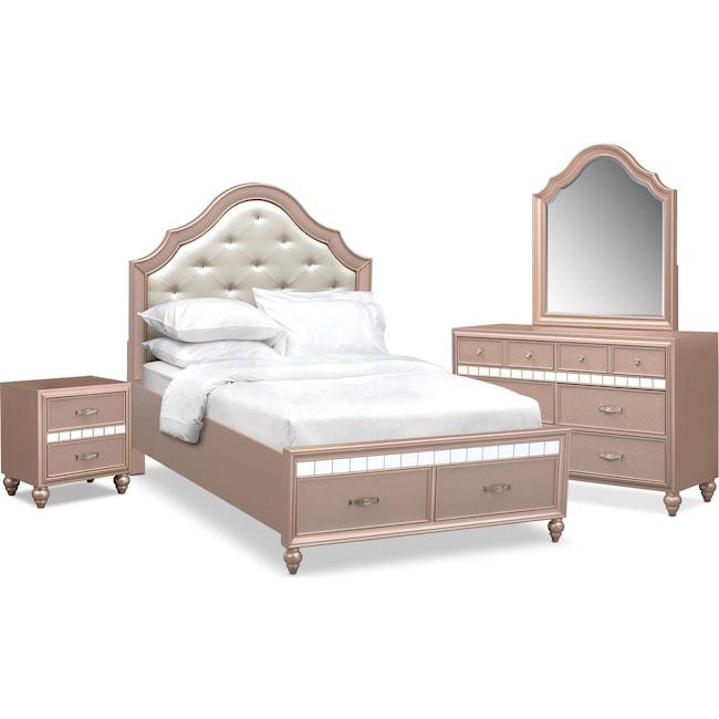 Bedroom Furniture - Serena Youth 6-Piece Full Storage Bedroom Set - Rose Quartz