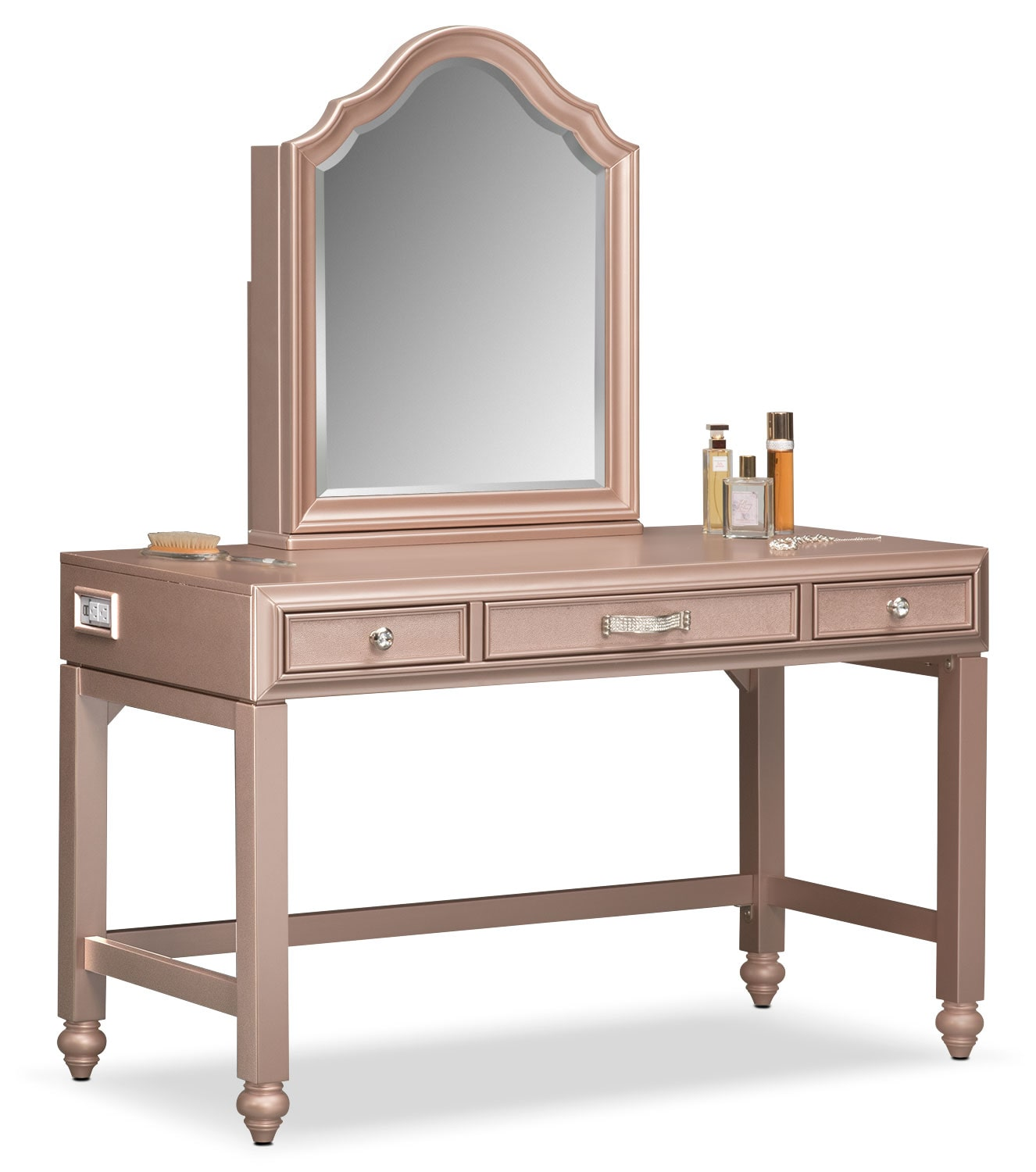 Serena Vanity And Mirror Rose Quartz Value City