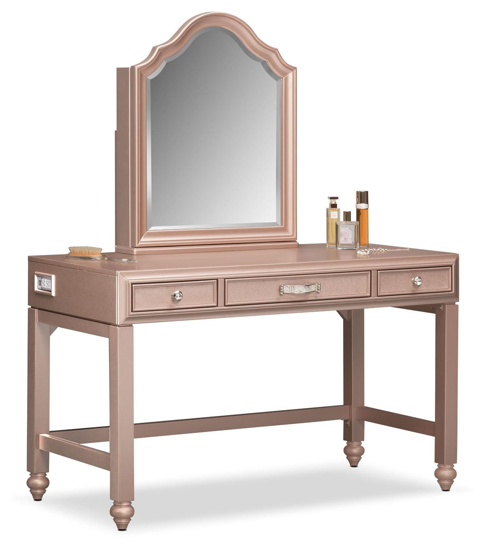 Bedroom Furniture - Serena Vanity and Mirror - Rose Quartz