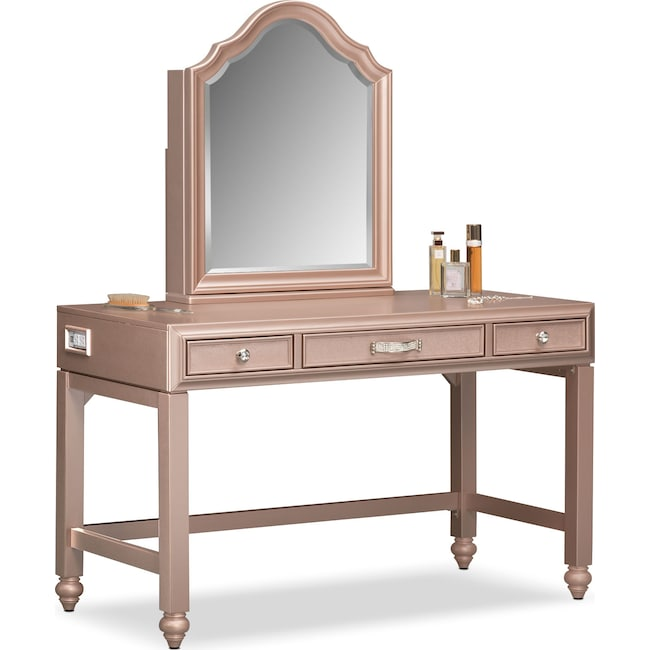 Bedroom Furniture - Serena Vanity and Mirror - Rose Quartz