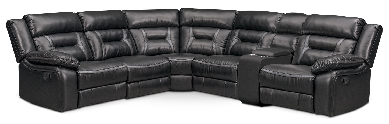 Remi 6-Piece Manual Reclining Sectional with 3 Reclining Seats - Black