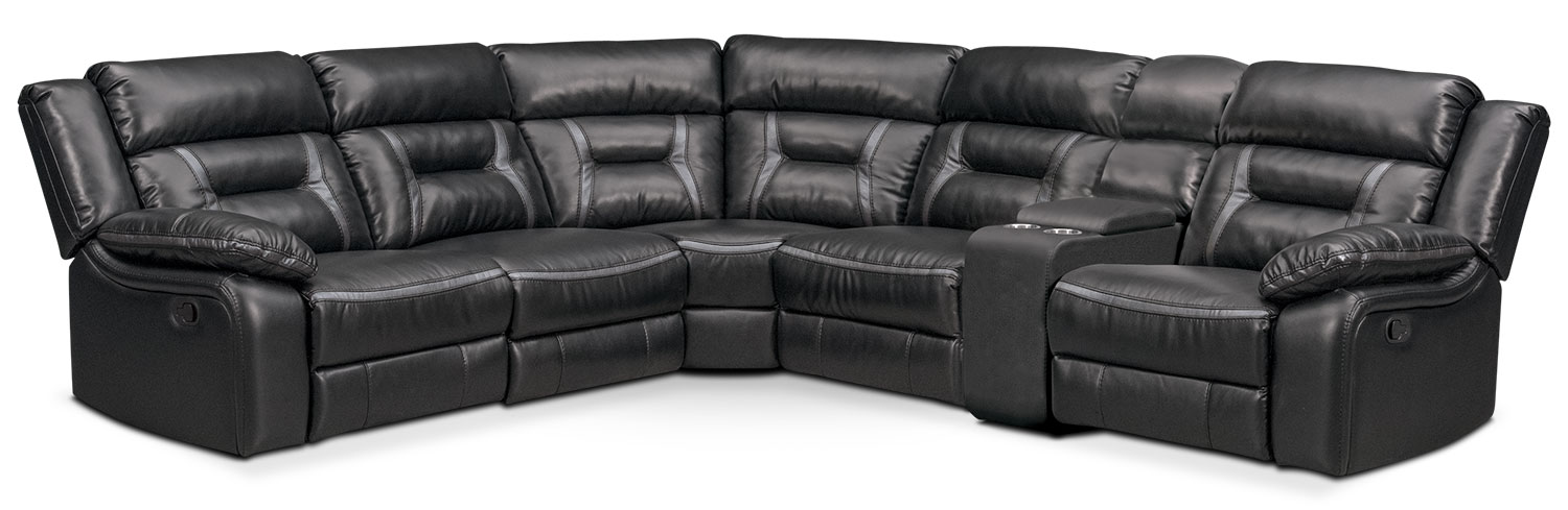 Remi 6-Piece Manual Reclining Sectional with 2 Reclining Seats - Black