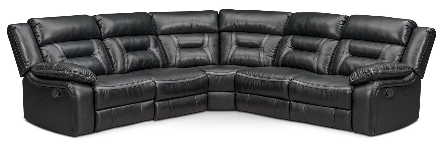 Living Room Furniture - Remi 5-Piece Manual Reclining Sectional with 3 Reclining Seats - Black