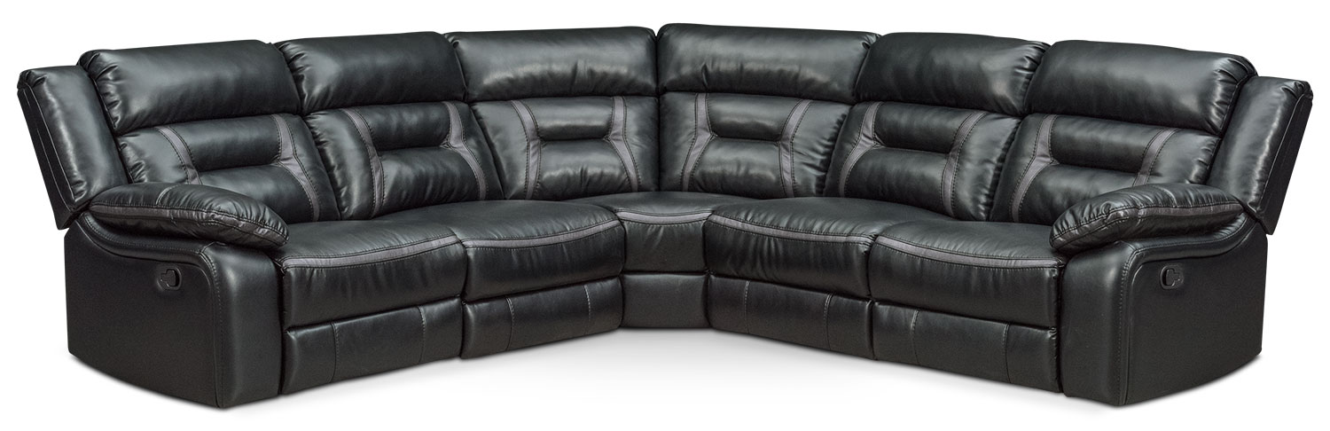 Remi 5-Piece Manual Reclining Sectional with 2 Reclining Seats - Black