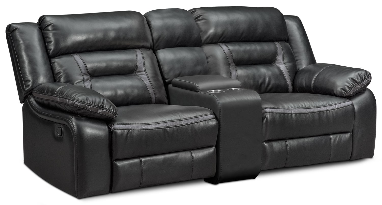 Living Room Furniture - Remi 3-Piece Manual Reclining Sofa - Black