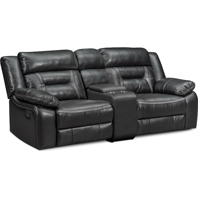 Living Room Furniture - Remi 3-Piece Manual Reclining Sofa - Black