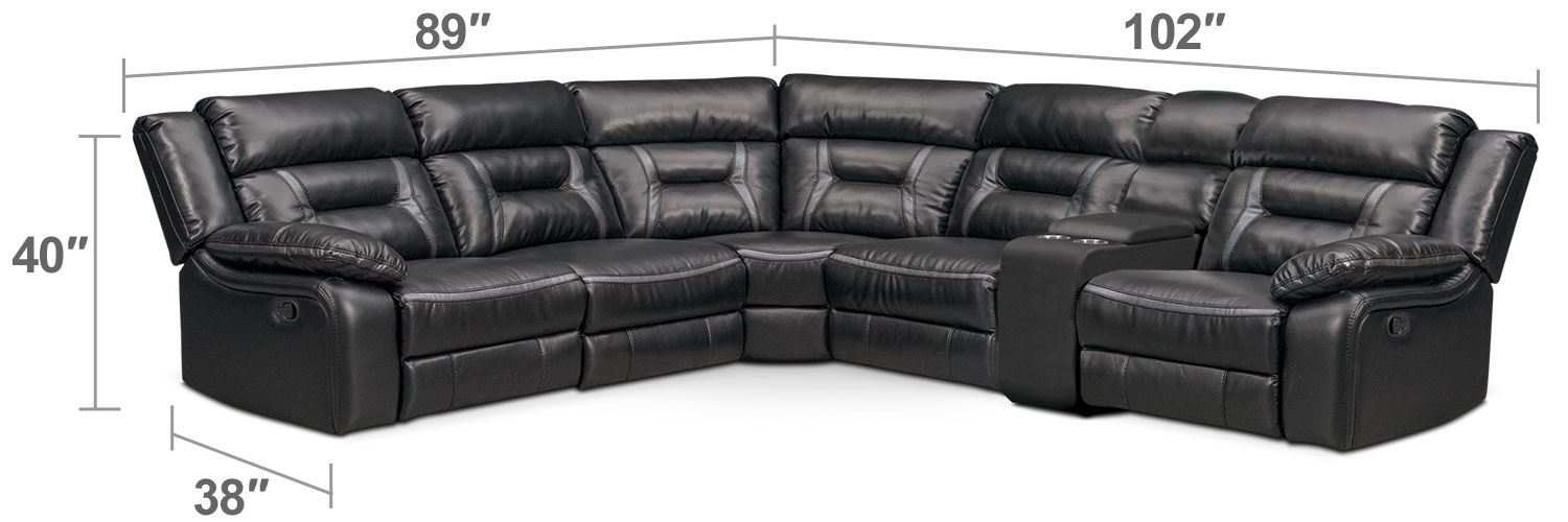Living Room Furniture - Remi 6-Piece Manual Reclining Sectional with 3 Reclining Seats - Black