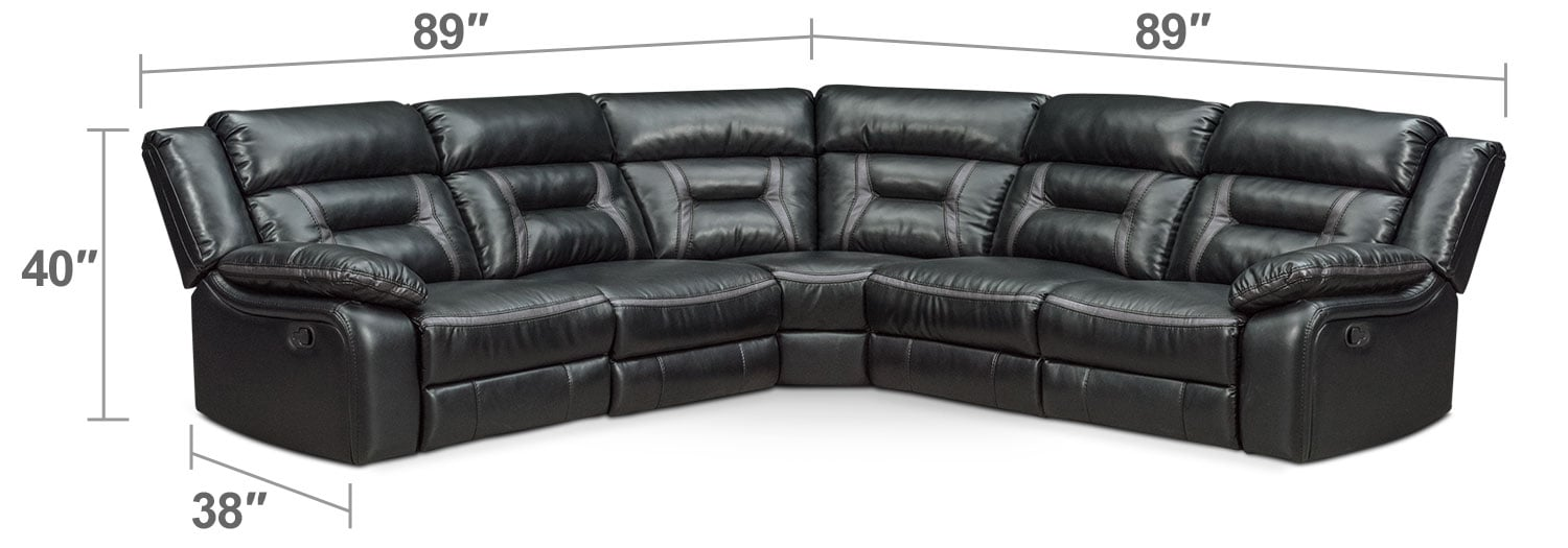 Living Room Furniture - Remi 5-Piece Manual Reclining Sectional with 2 Reclining Seats - Black
