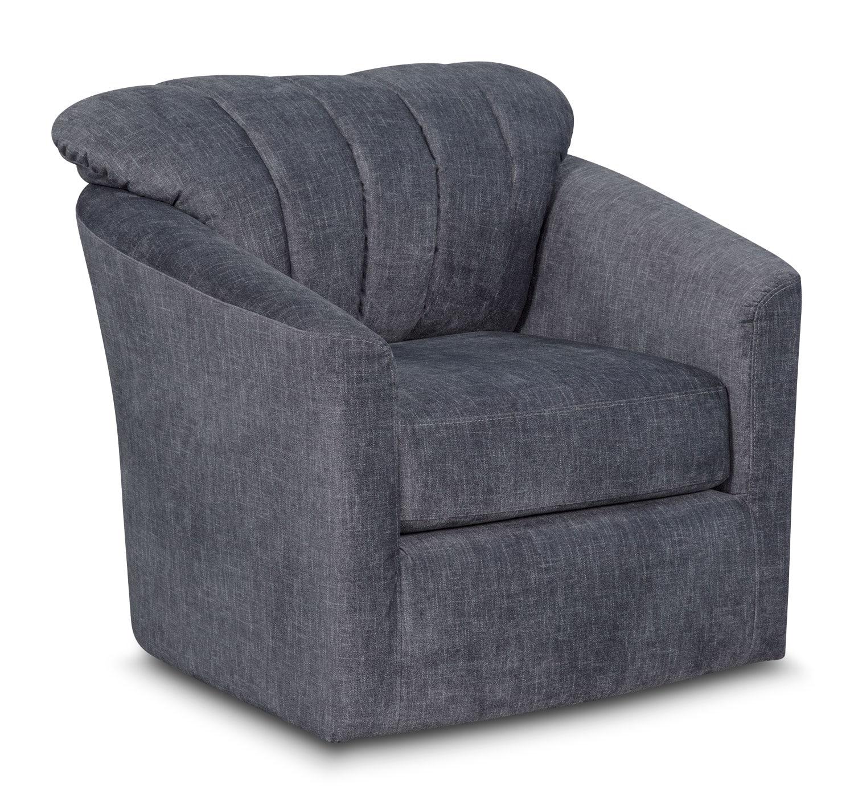 Living Room Furniture - Parker Swivel Chair - Blue