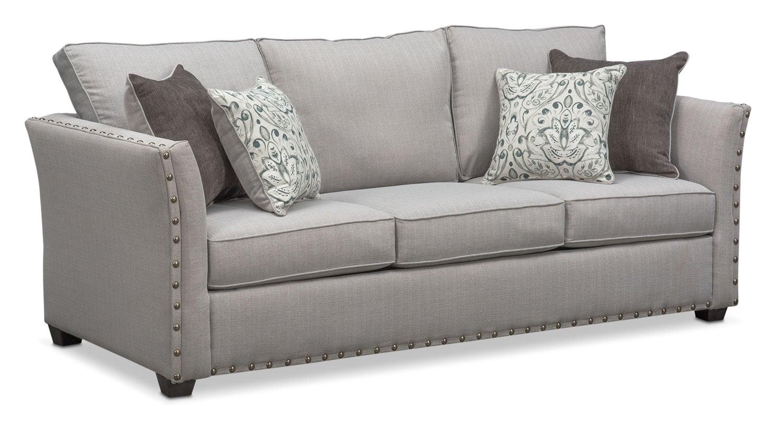 Living Room Furniture - Mckenna Queen Innerspring Sleeper Sofa - Pewter