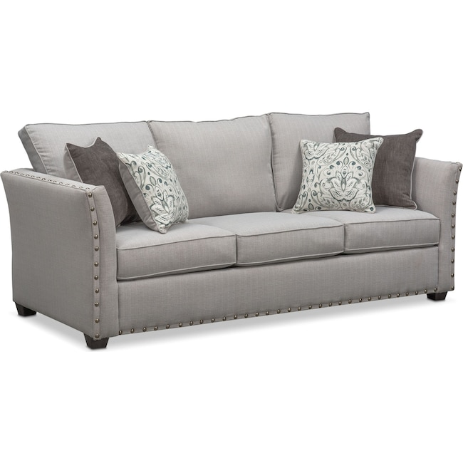 Living Room Furniture - Mckenna Queen Memory Foam Sleeper Sofa - Pewter