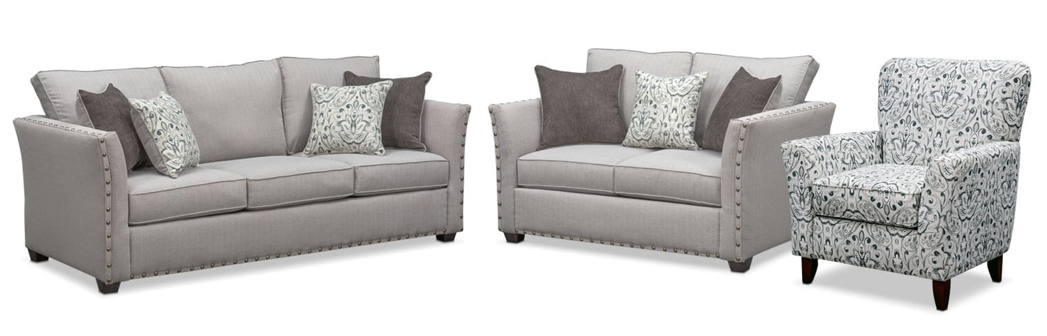 Superbe Living Room Furniture   Mckenna Sofa, Loveseat And Accent Chair Set   Pewter