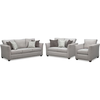 Mckenna Queen Innerspring Sleeper Sofa, Loveseat and Chair Set - Pewter