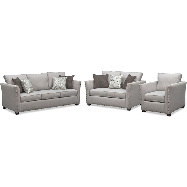 Living Room Furniture - Mckenna Sofa, Loveseat and Chair Set - Pewter