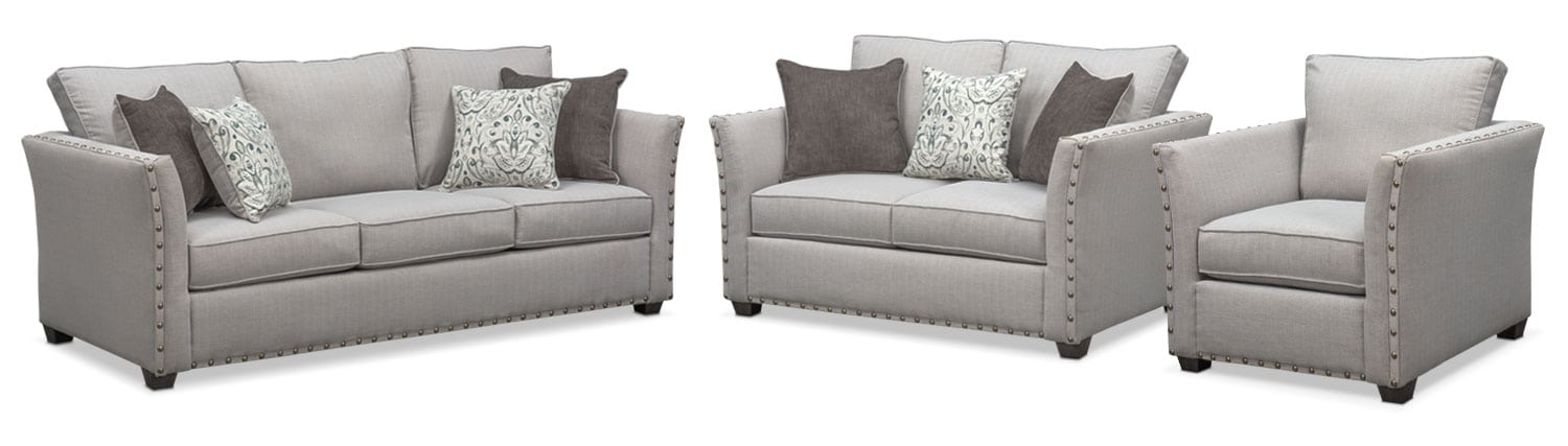 Living Room Furniture   Mckenna Queen Innerspring Sleeper Sofa, Loveseat  And Chair Set   Pewter