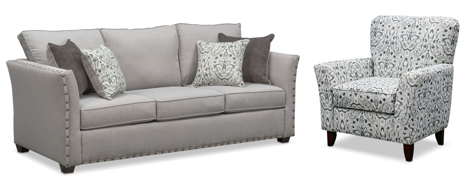 sleeper sofa and accent chair set pewter value city furniture