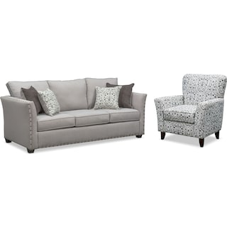 Mckenna Sofa and Accent Chair Set - Pewter