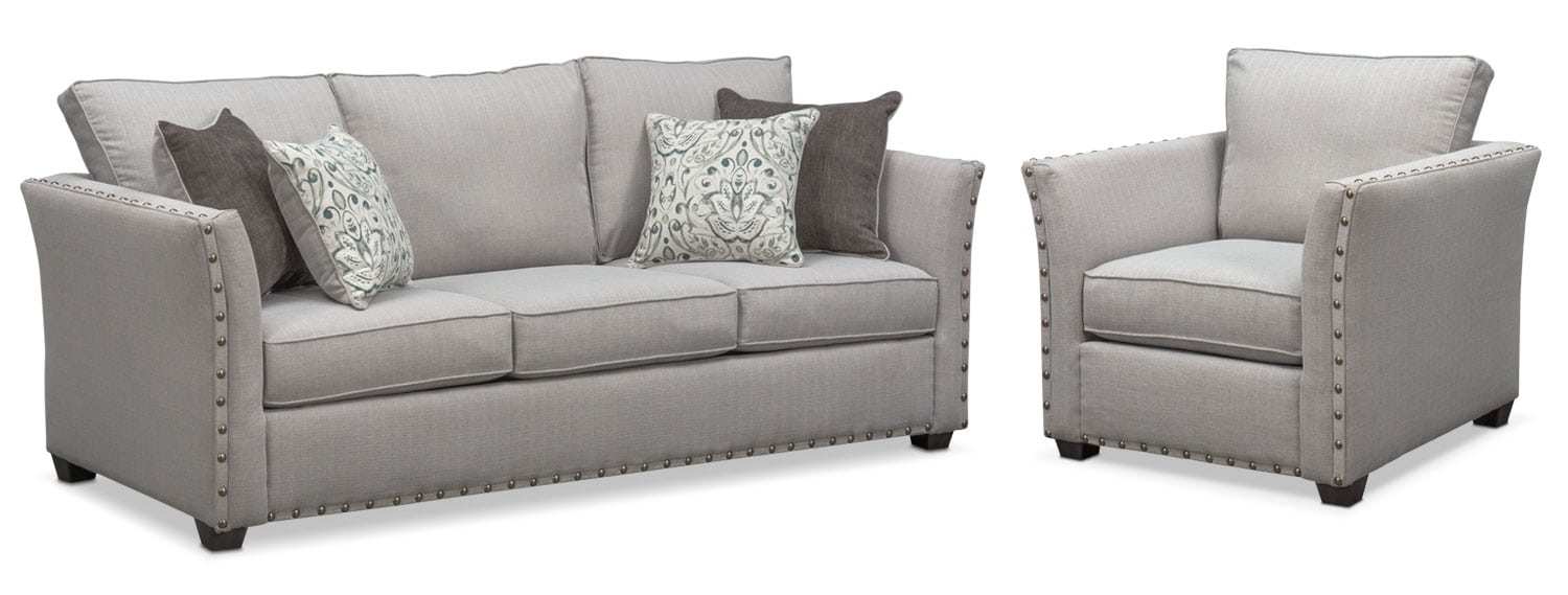 Living Room Furniture - Mckenna Sofa and Chair Set - Pewter