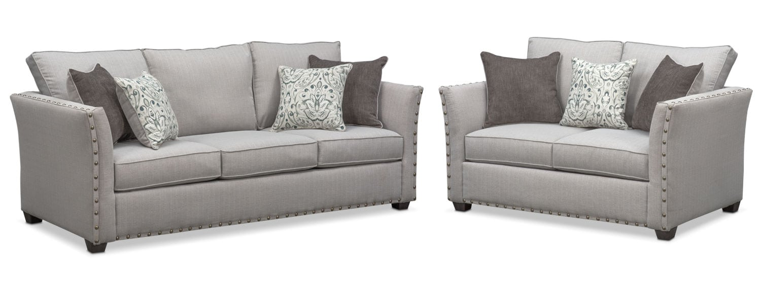 Living Room Furniture   Mckenna Queen Memory Foam Sleeper Sofa And Loveseat  Set   Pewter