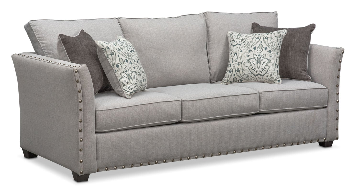 Mckenna Queen Memory Foam Sleeper Sofa And Loveseat Set Pewter  ~ Sleeper Sofa Memory Foam