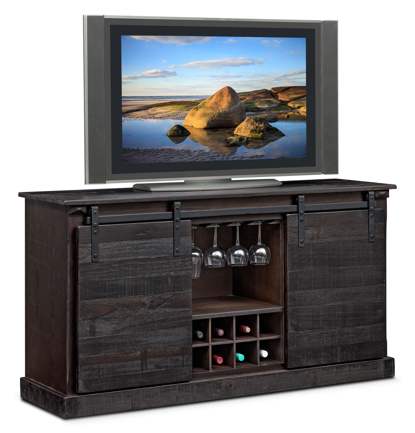 Ashcroft Media Credenza with Wine Storage Charcoal Value City