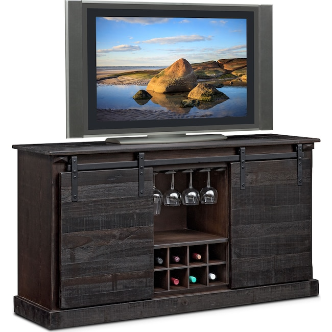 Accent and Occasional Furniture - Ashcroft Media Credenza with Wine Storage - Charcoal