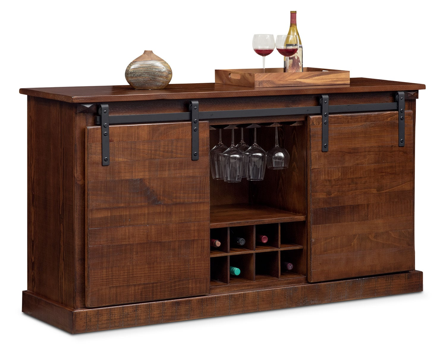Ashcroft 65 Tv Stand With Wine Storage Chocolate Value City