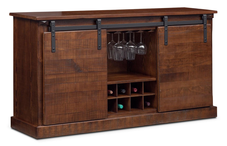 Ashcroft Media Credenza with Wine Storage - Chocolate   Value City ...
