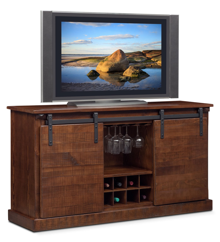 Entertainment Furniture - Ashcroft Media Credenza with Wine Storage - Chocolate