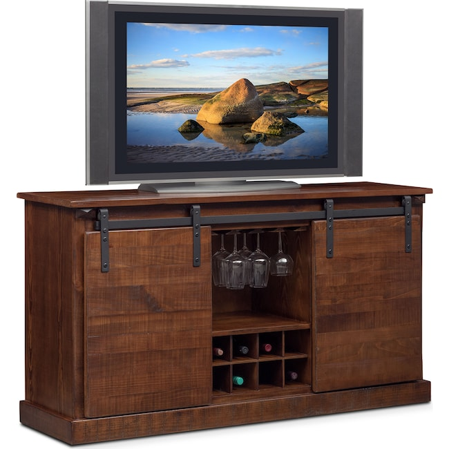 Accent and Occasional Furniture - Ashcroft Media Credenza with Wine Storage - Chocolate