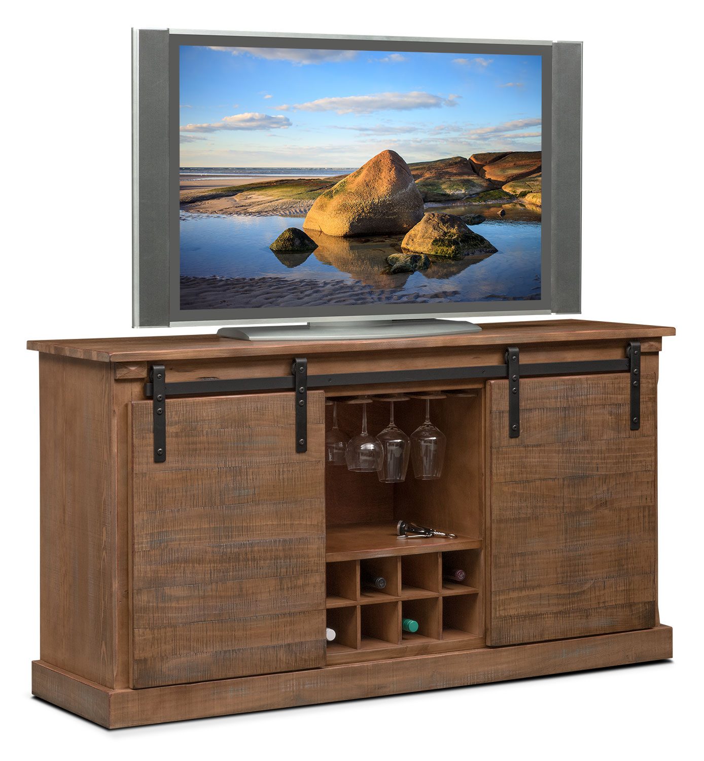 Ashcroft Media Credenza with Wine Storage - Driftwood