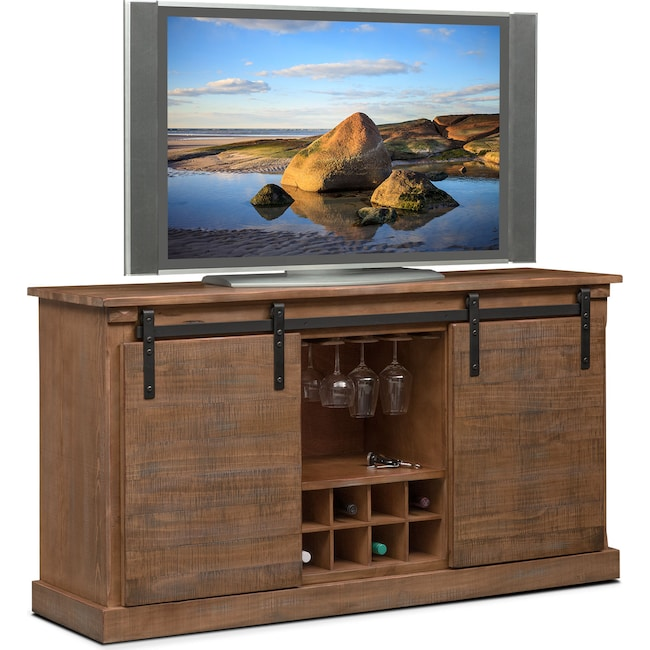 Entertainment Furniture - Ashcroft Media Credenza with Wine Storage - Driftwood