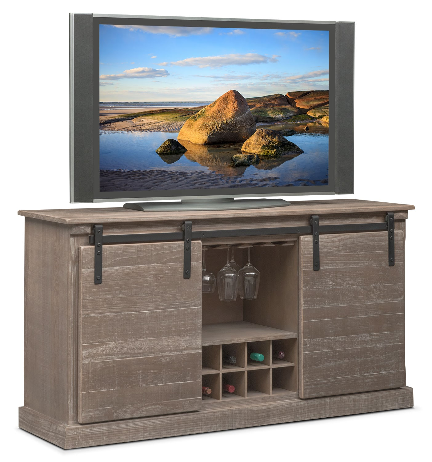 Ashcroft Media Credenza With Wine Storage   Gray