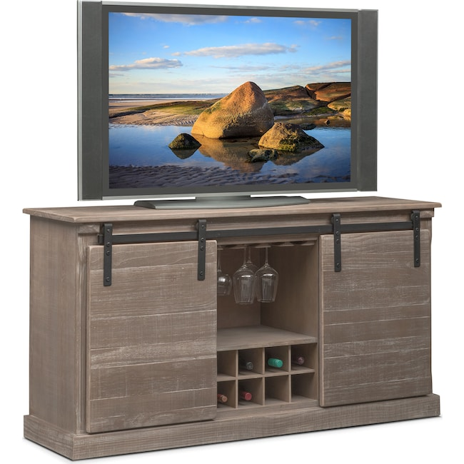 """Entertainment Furniture - Ashcroft 65"""" TV Stand with Wine Storage - Gray"""